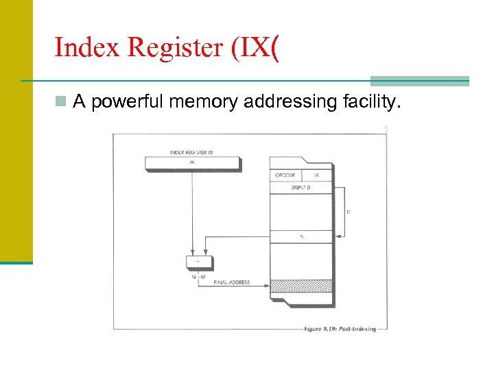 Index Register (IX( n A powerful memory addressing facility.