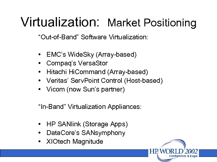 """Virtualization: Market Positioning """"Out-of-Band"""" Software Virtualization: • • • EMC's Wide. Sky (Array-based) Compaq's"""