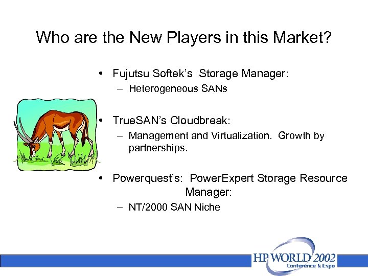 Who are the New Players in this Market? • Fujutsu Softek's Storage Manager: –