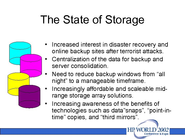 The State of Storage • Increased interest in disaster recovery and online backup sites