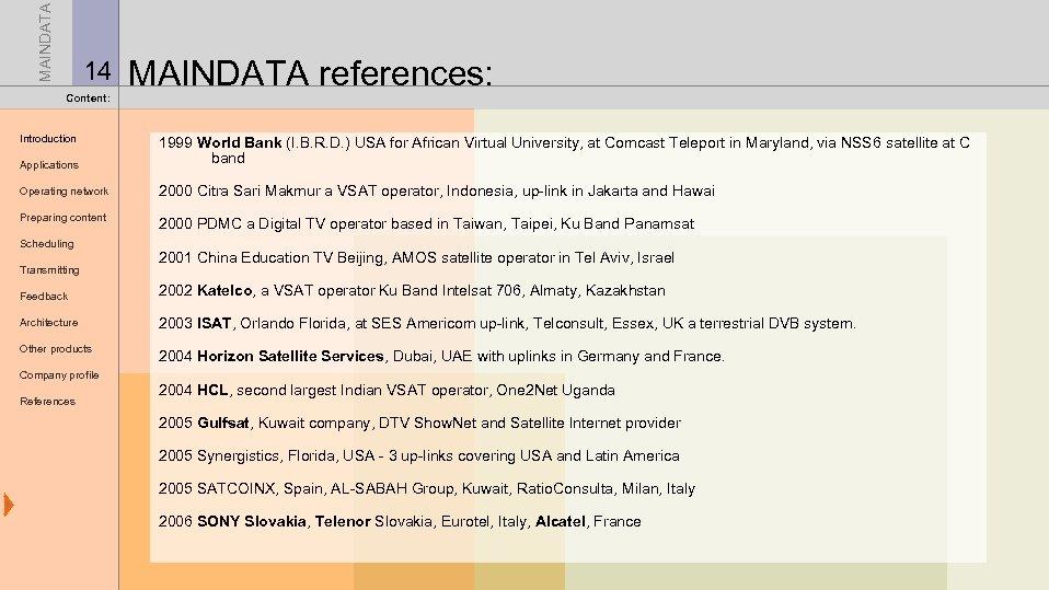 MAINDATA 14 MAINDATA references: Content: Introduction Applications 1999 World Bank (I. B. R. D.