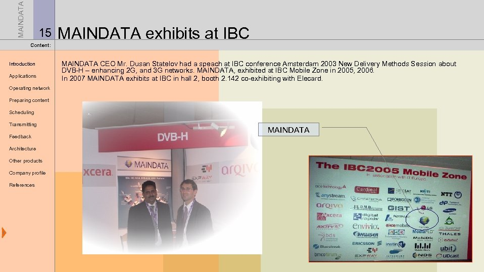 MAINDATA 15 MAINDATA exhibits at IBC Content: Introduction Applications MAINDATA CEO Mr. Dusan Statelov