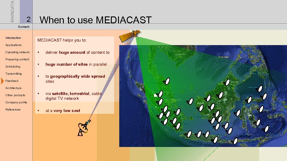 MAINDATA When to use MEDIACAST 2 Content: Introduction MEDIACAST helps you to: Applications Operating