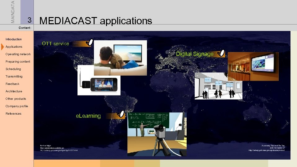 MAINDATA 3 Content: Introduction Applications MEDIACAST applications OTT service Digital Signage Operating network Preparing