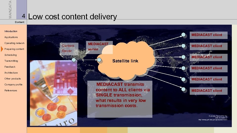 MAINDATA 4 Content: Low cost content delivery Introduction MEDIACAST client Applications Operating network Preparing