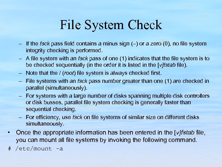 File System Check – If the fsck pass field contains a minus sign (