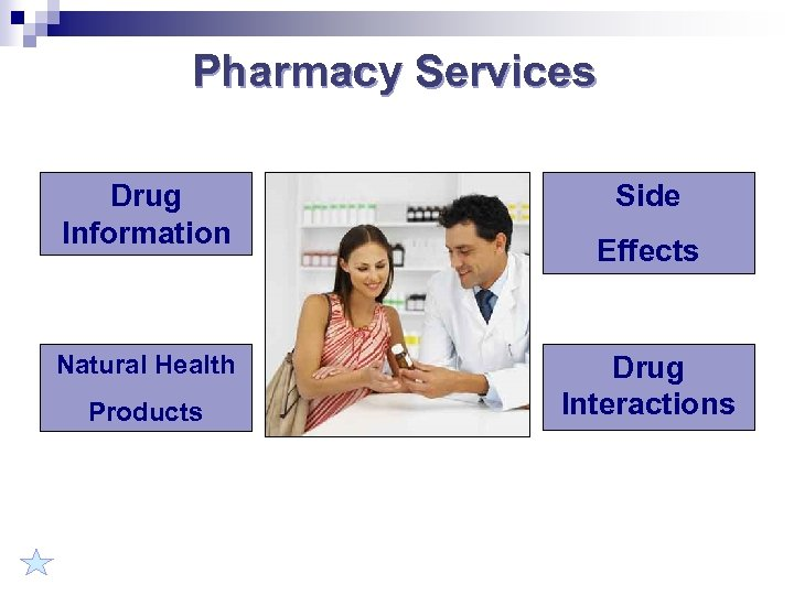 Pharmacy Services Drug Information Natural Health Products Side Effects Drug Interactions