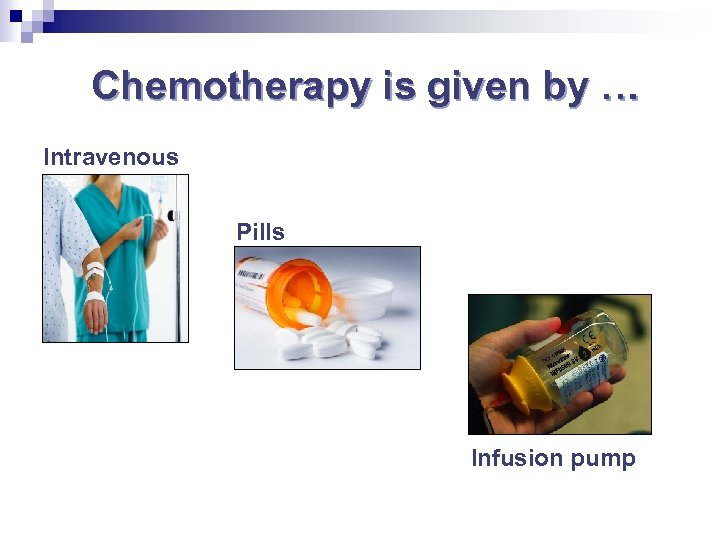 Chemotherapy is given by … Intravenous Pills Take home Infusion pump