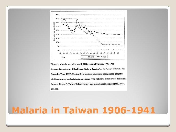 Malaria in Taiwan 1906 -1941