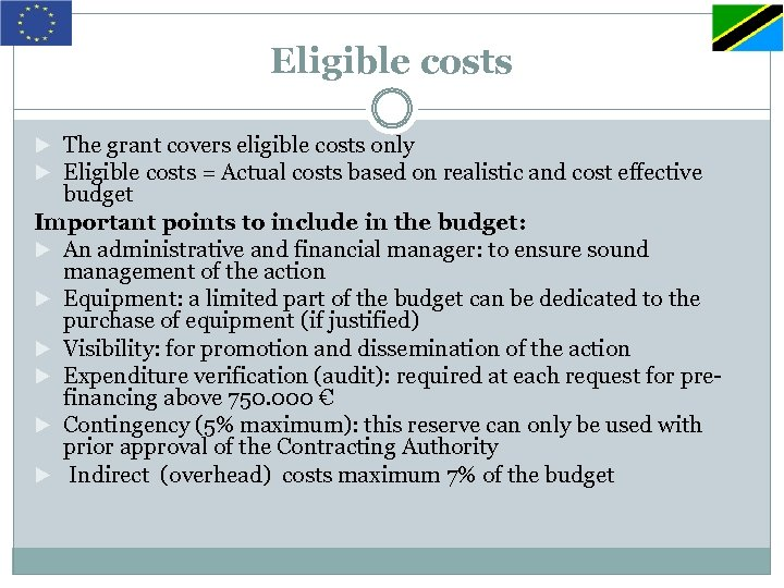 Eligible costs The grant covers eligible costs only Eligible costs = Actual costs based
