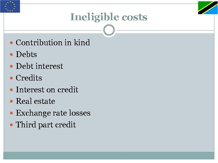 Ineligible costs Contribution in kind Debts Debt interest Credits Interest on credit Real estate