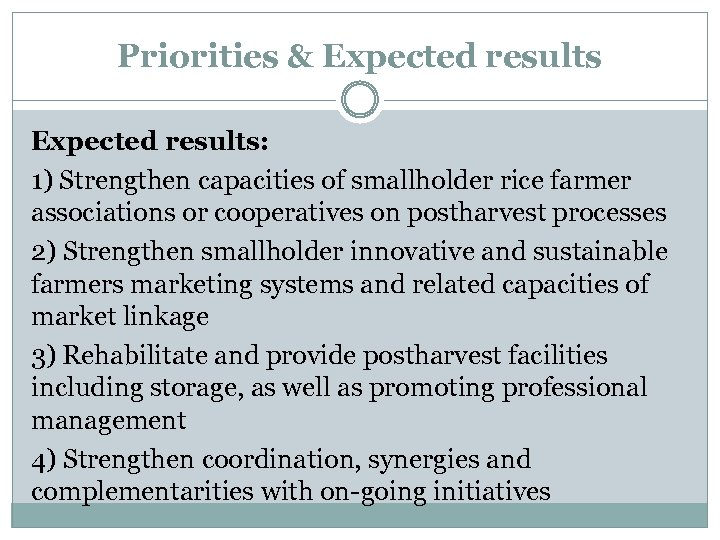 Priorities & Expected results: 1) Strengthen capacities of smallholder rice farmer associations or cooperatives