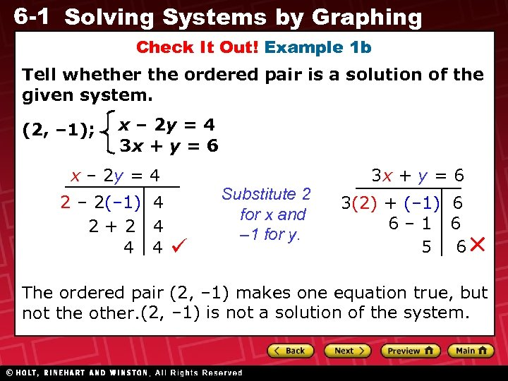 6 -1 Solving Systems by Graphing Check It Out! Example 1 b Tell whether