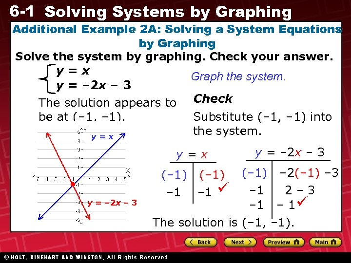 6 -1 Solving Systems by Graphing Additional Example 2 A: Solving a System Equations