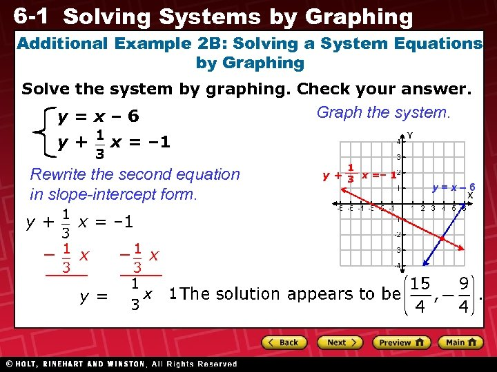6 -1 Solving Systems by Graphing Additional Example 2 B: Solving a System Equations