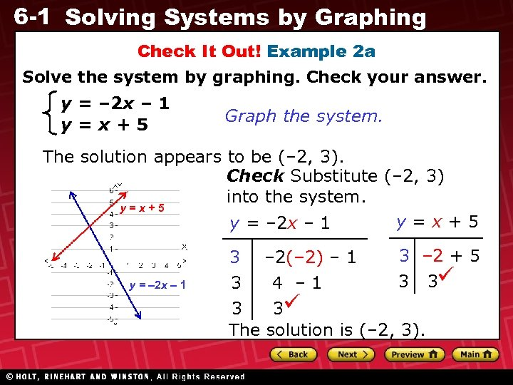 6 -1 Solving Systems by Graphing Check It Out! Example 2 a Solve the