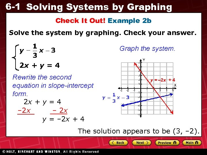 6 -1 Solving Systems by Graphing Check It Out! Example 2 b Solve the