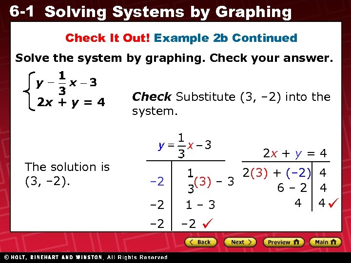 6 -1 Solving Systems by Graphing Check It Out! Example 2 b Continued Solve