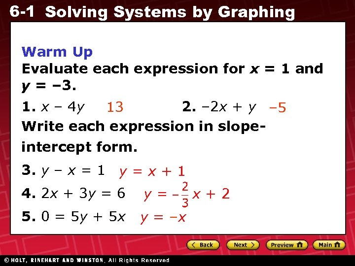 6 -1 Solving Systems by Graphing Warm Up Evaluate each expression for x =