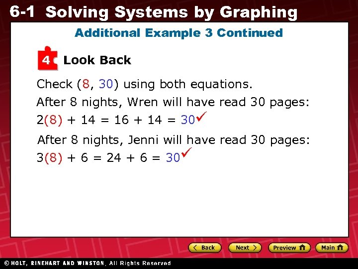 6 -1 Solving Systems by Graphing Additional Example 3 Continued 4 Look Back Check