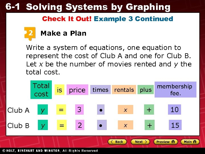 6 -1 Solving Systems by Graphing Check It Out! Example 3 Continued 2 Make