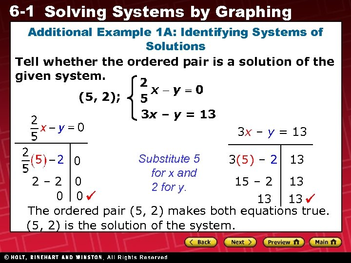 6 -1 Solving Systems by Graphing Additional Example 1 A: Identifying Systems of Solutions
