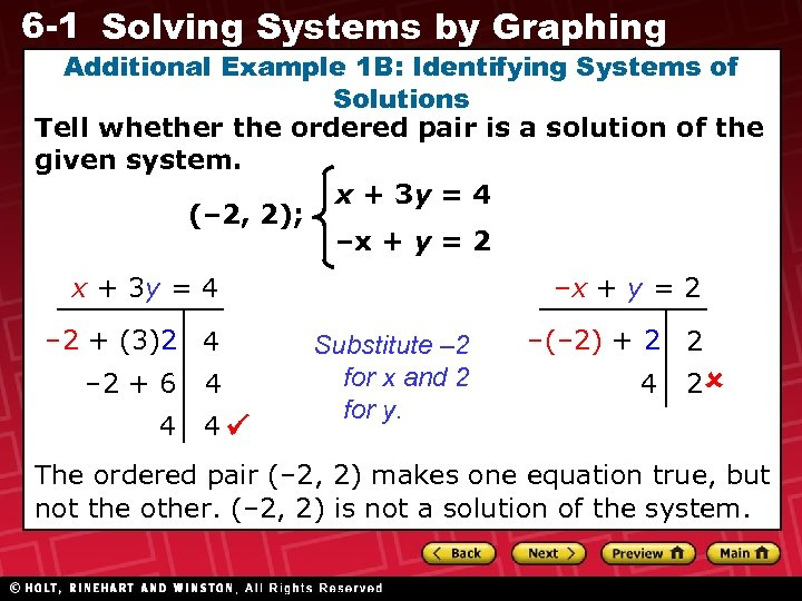 6 -1 Solving Systems by Graphing Additional Example 1 B: Identifying Systems of Solutions