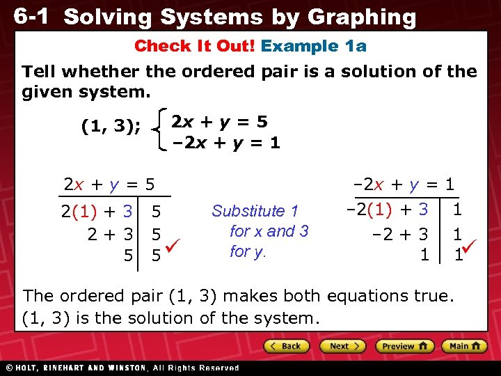 6 -1 Solving Systems by Graphing Check It Out! Example 1 a Tell whether