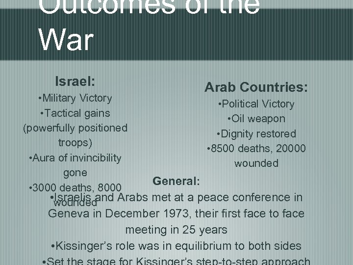 Outcomes of the War Israel: Arab Countries: • Military Victory • Political Victory •