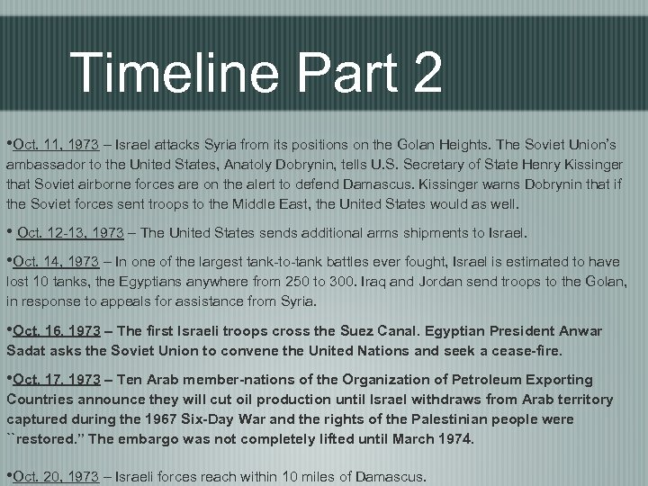 Timeline Part 2 • Oct. 11, 1973 – Israel attacks Syria from its positions