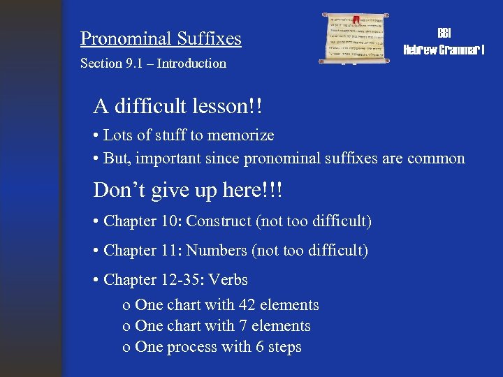 Pronominal Suffixes Section 9. 1 – Introduction BBI Hebrew Grammar I A difficult lesson!!