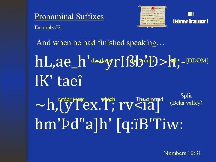 BBI Hebrew Grammar I Pronominal Suffixes Example #2 And when he had finished speaking…