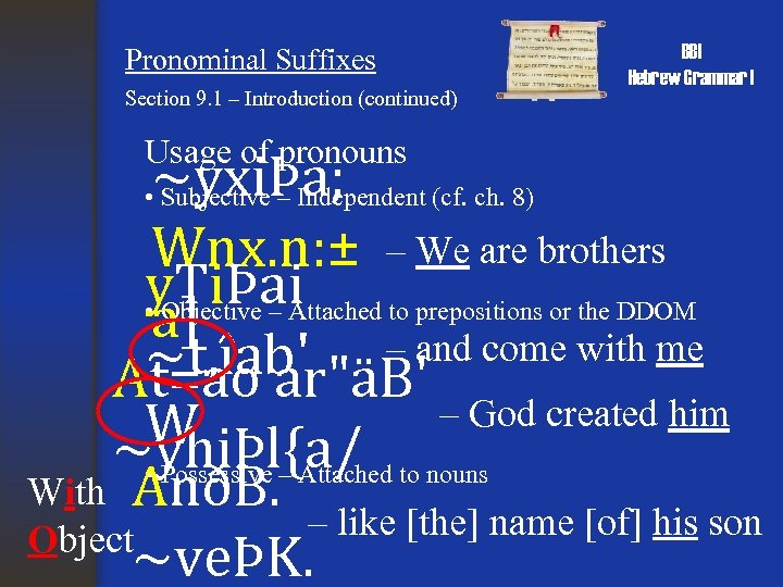 Pronominal Suffixes Section 9. 1 – Introduction (continued) Usage of pronouns BBI Hebrew Grammar