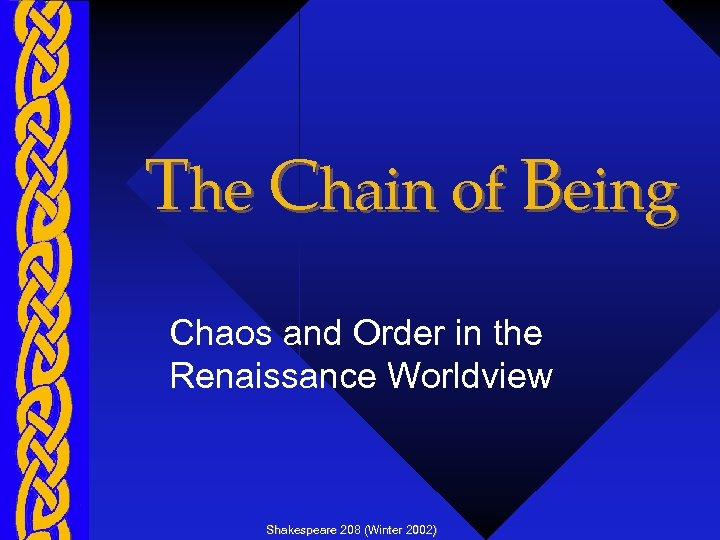 The Chain of Being Chaos and Order in the Renaissance Worldview Shakespeare 208 (Winter