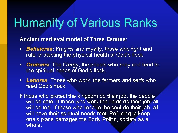 Humanity of Various Ranks Ancient medieval model of Three Estates: • Bellatores: Knights and