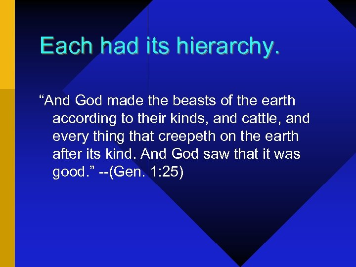 "Each had its hierarchy. ""And God made the beasts of the earth according to"