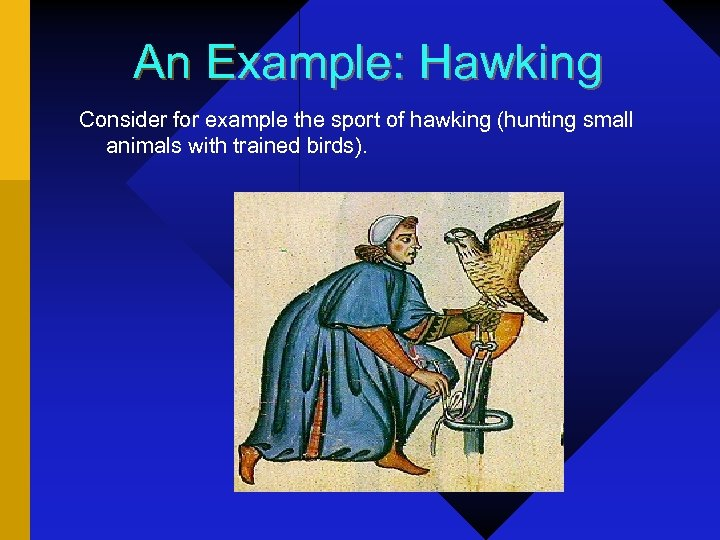 An Example: Hawking Consider for example the sport of hawking (hunting small animals with