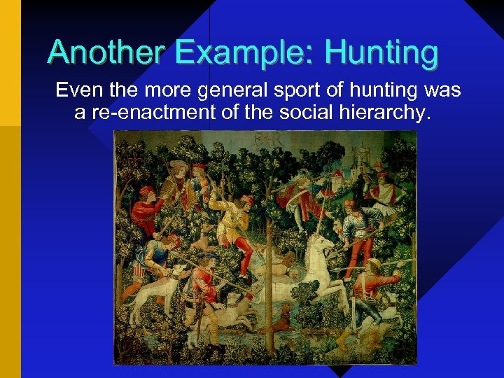 Another Example: Hunting Even the more general sport of hunting was a re-enactment of