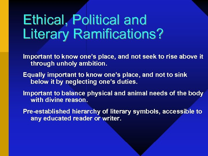 Ethical, Political and Literary Ramifications? Important to know one's place, and not seek to