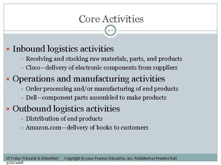 Core Activities 9 -10 Inbound logistics activities Receiving and stocking raw materials, parts, and