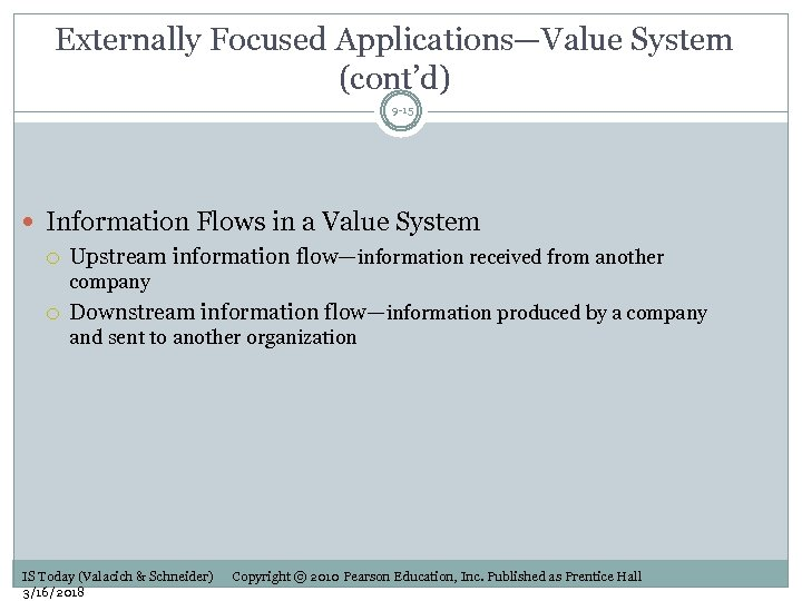 Externally Focused Applications—Value System (cont'd) 9 -15 Information Flows in a Value System Upstream