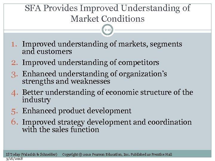 SFA Provides Improved Understanding of Market Conditions 9 -45 1. Improved understanding of markets,