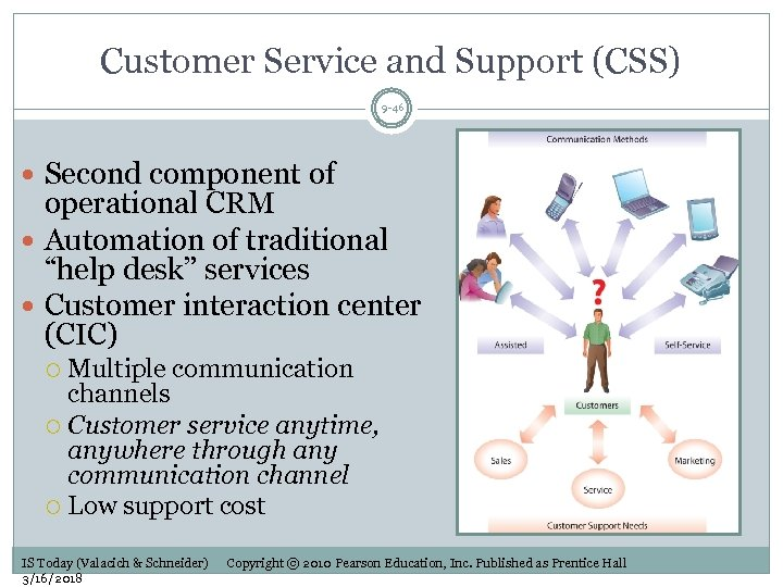 Customer Service and Support (CSS) 9 -46 Second component of operational CRM Automation of