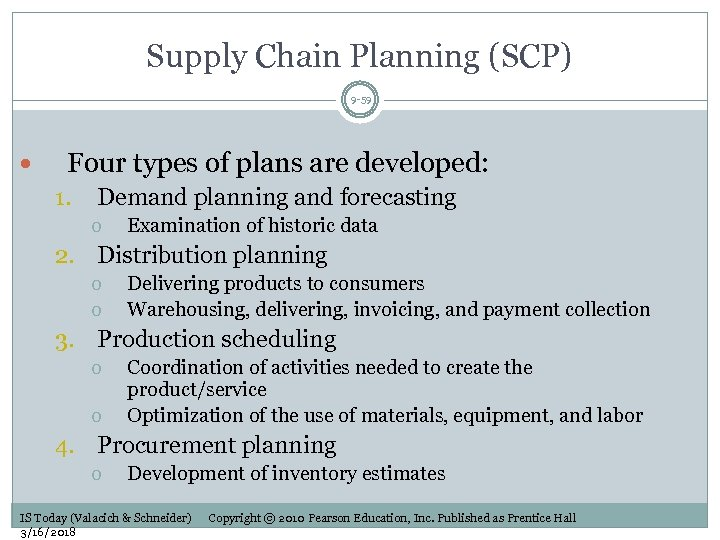 Supply Chain Planning (SCP) 9 -59 Four types of plans are developed: 1. Demand