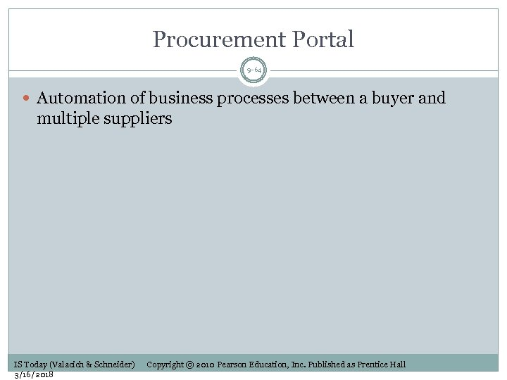 Procurement Portal 9 -64 Automation of business processes between a buyer and multiple suppliers