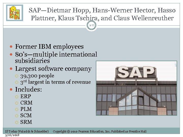 SAP—Dietmar Hopp, Hans-Werner Hector, Hasso Plattner, Klaus Tschira, and Claus Wellenreuther 9 -77 Former