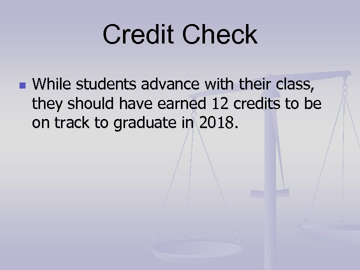 Credit Check n While students advance with their class, they should have earned 12