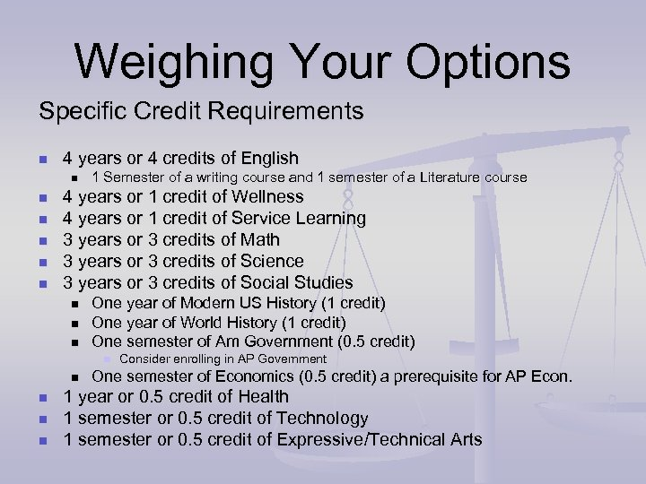 Weighing Your Options Specific Credit Requirements n 4 years or 4 credits of English