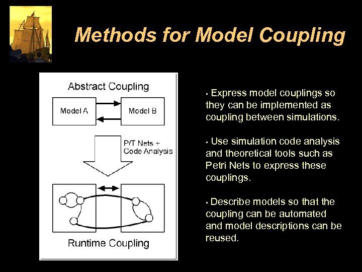 Methods for Model Coupling Express model couplings so they can be implemented as coupling