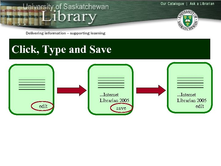 Click, Type and Save edit . . . Internet Librarian 2005 save . .